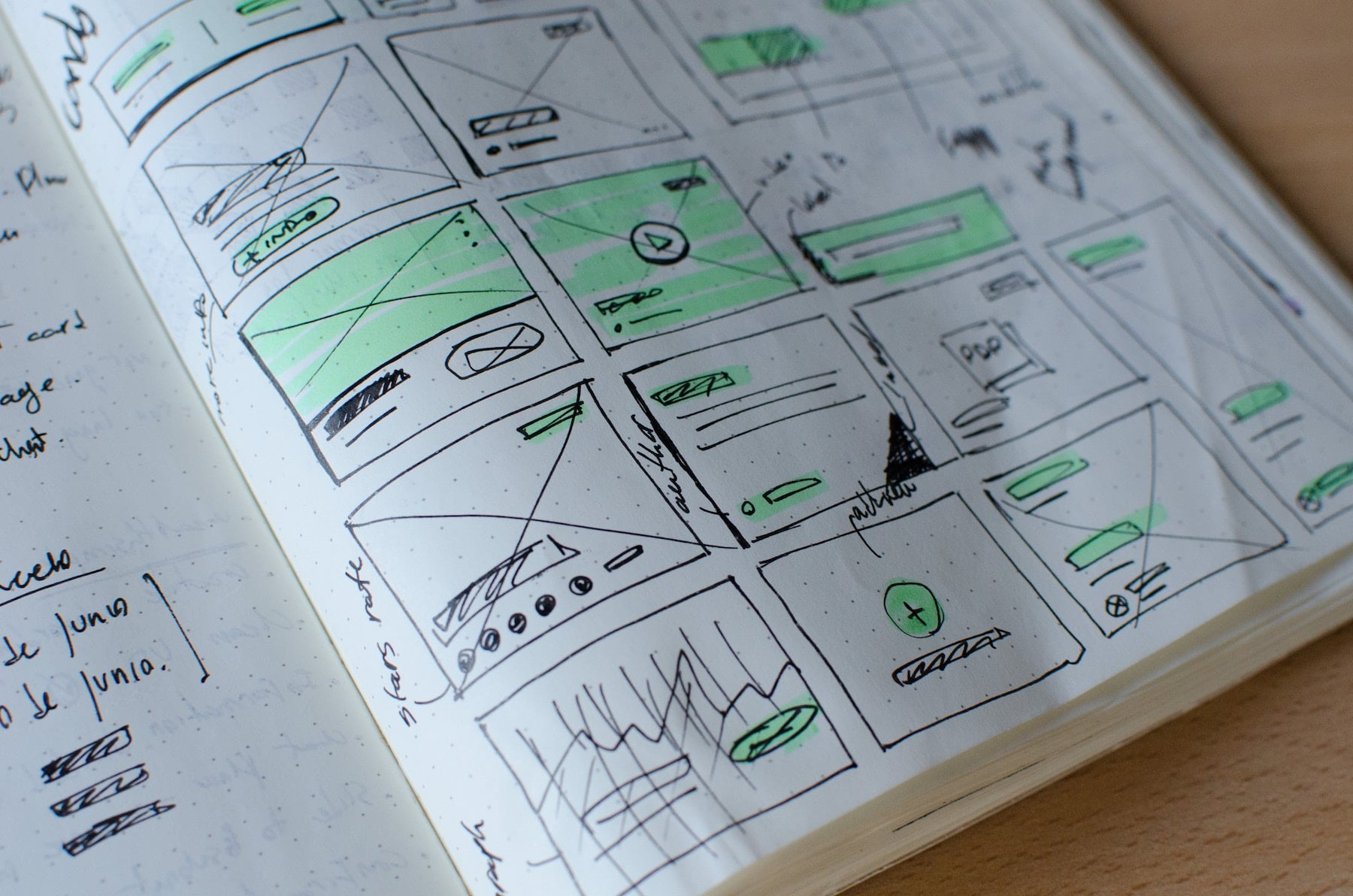 Design drawings of a website template in a book.
